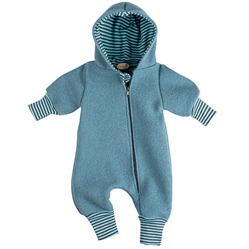 """Lilakind"""" Baby Jungen Mädchen Overall Einteiler mit Kapuze Walkloden Wolle Unisex Blau Gestreift Gr. 56/62 - Made in Germany"""