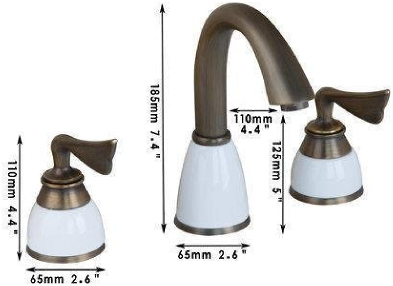 Messing antik Badewanne Armatur Wasserhahn Bad 3 Stück Double Handles Keramik Griff Waschbecken Wasser Mischbatterie