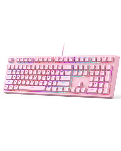 AUKEY Mechanical Gaming Keyboard with Customizable RGB Backlight & Tactile Blue Switches, 108-Key Anti-Ghosting Wired Keyboard 18 Lighting Effects & 12 Multimedia Keys for PC and Laptop - Pink