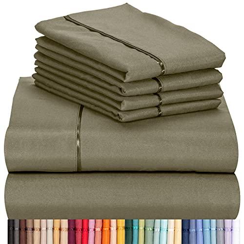 "LuxClub 6 PC Sheet Set Bamboo Sheets Deep Pockets 18"" Eco Friendly Wrinkle Free Sheets Machine Washable Hotel Bedding Silky Soft - Olive California King"