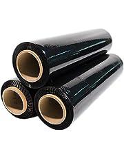 3 rollos de film elástico para embalaje, 23 my, aprox. 2,5 kg/por rollo, color negro