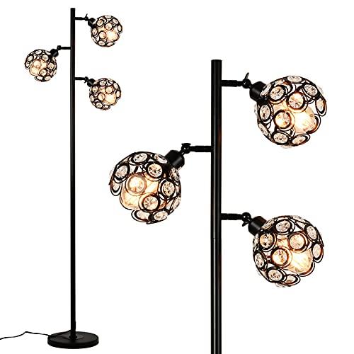 Rayofly Lámpara de pie de cristal, 3 llamas, ajustable, lámpara de lectura con interruptor de pie, 162 cm de alto, para dormitorio, salón, oficina, cafetería, E27 Triple-Heads