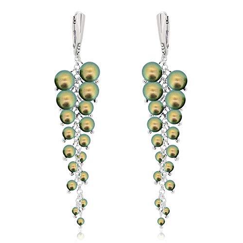 **Beforya Paris** - Perlen Obsession - Ohrringe - White!! - EXKLUSIV - Silber 925 Schön Damen Ohrringe mit Kristallen von Swarovski - Wunderbare Ohrringe mit Geschenkbox PIN/75 (Green)