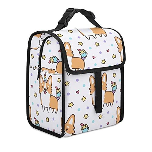 Bolsa de almuerzo aislada, cajas trmicas para enfriar bolsas de gran capacidad, para picnic, almuerzo, para trabajo, viajes, escuela, gals Corgi en un disfraz de unicornio