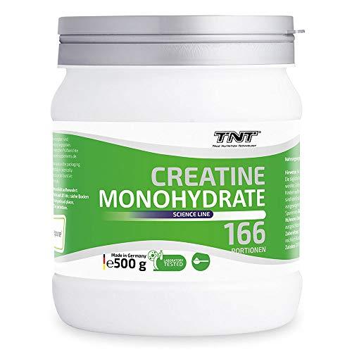 TNT – 500g Creatin Monohydrat Pulver – Reines hochwertiges Creapure Kreatin Pulver – Laborgetestet & Produziert in Deutschland