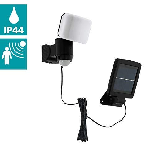 EGLO LED outdoor wandlamp Casabas 1 lamp buitenlamp, sensor-wandlamp van kunststof, buitenspot met bewegingsmelder, werkt op zonne-energie, IP44, zwart