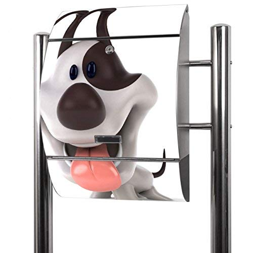 Banjado Briefkasten Edelstahl mit Ständer | Postkasten freistehend 126x53x17cm | Standbriefkasten mit Zeitungsfach und Namensschild Motiv Comic-Hund