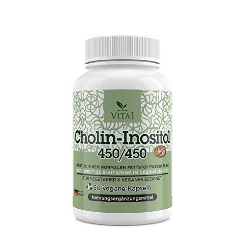 Cholin-Inositol 450/450 mg • 60 Kapseln (Monatspackung) • für einen normalen Fettstoffwechsel • VITA1 • Hergestellt in Deutschland