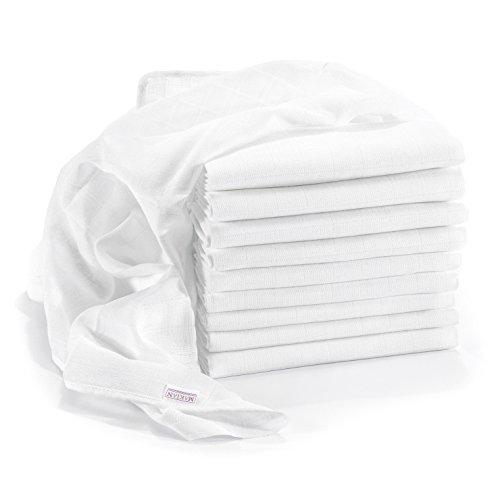 Mullwindeln/Spucktücher - 10er Pack, 80x80 cm, ÖKO-TEX zertifizierte Premium Qualität - doppelt gewebte Stoffwindeln/Mulltücher mit verstärkter Umrandung, kochfest - Weiß