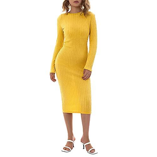 SKZZVI Vestido largo para mujer, monocolor, cuello redondo, manga larga, jacquard, mono, para mujer, color verde, amarillo y azul cielo, amarillo, S