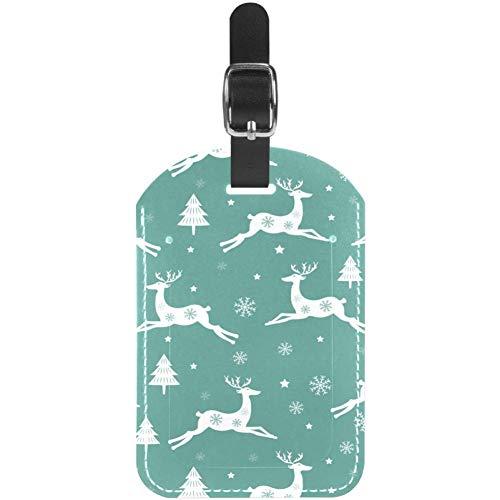 Etiquetas de Equipaje Running Christmas Reindeer Leather Travel Maleta Etiquetas 1 Paquete