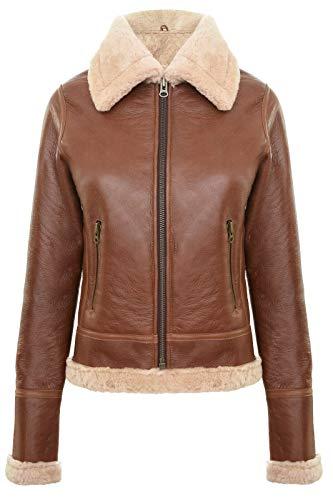 Infinity Leather Chaqueta Marrón para Damas de Cuero Genuino de Piel de Oveja Gruesa Estilo Aviador Coniac B3 WW2