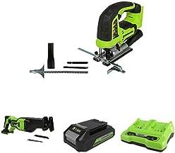 Greenworks Tools Sierra de calar sin Cable GD24JS + Batería sierra de sable GD24RS, 24V Li-Ion control de velocidad + Batería G24B2 2ª generación + Batería de doble ranura Cargador universal G24X2C