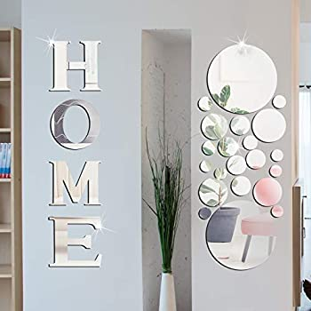 Home Sign Letters Acrylic Mirror Wall Stickers Solid Circle Wall Stickers 3D Mirror Wall Decals DIY Removable Mirror Wall Stickers for Home Living Room Decoration  Silver