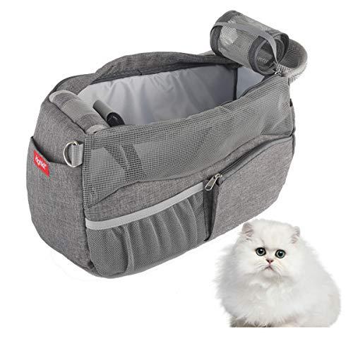 Highkit Atmungsaktiv Tragetasche Hund für Kleine Hunde und Katze.Haustier Hundetasche Verstellbare Schultergurt mit Gepolsterter Hunderucksack Bis 4 kg (38 * 14 * 23cm Grau)