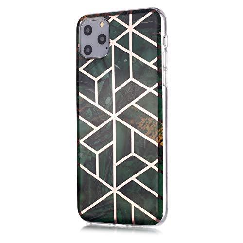 Miagon Galvanoplastie Marbre Coque pour iPhone 11,Doux Marble Ultra Mince Silicone Case Full Body Housse Antichoc Bumper Back-Cover Anti-Choc,Vert