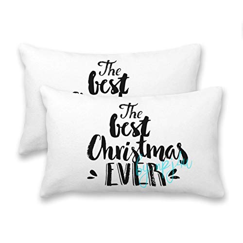 happygoluck1y The Best Christmas Ever Lettering Rectangle Cushion Covers 30x50 Set of 2 Decorative Farmhouse Pillow Case for Sofa and Couch