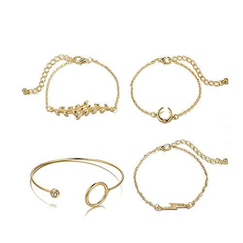 ANAZOZ Modeschmuck Armkettchen Armband Armreif Schmuck Sets Runde Blattblitzform Gold 17CM Damen Charm Armband