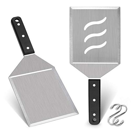 Professional Metal Burger Spatula 2PCS, Leonyo Heavy Duty Stainless Steel Griddle Hamburger Spatula Turner, for Barbecue Cast Iron Grilling Flat Top Griddle Accessories, Dishwasher Safe, Smash Burger