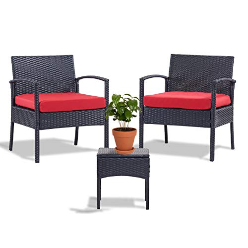 Leasbar Outdoor Chairs Set Bistro Set 3 Pieces Patio Conversation Set Furniture Set for Small Balcony Rattan Chairs and Table with Cushions Red