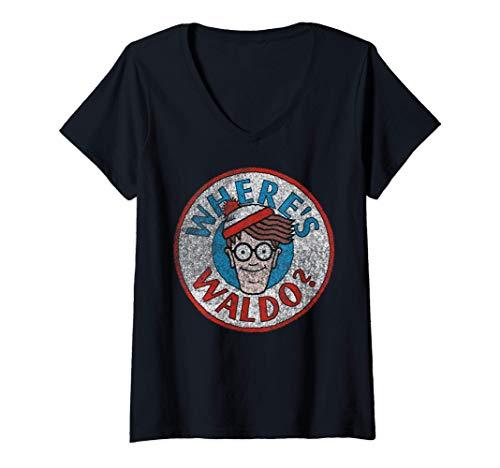 Womens Where's Waldo? Waldo Logo V-Neck T-Shirt