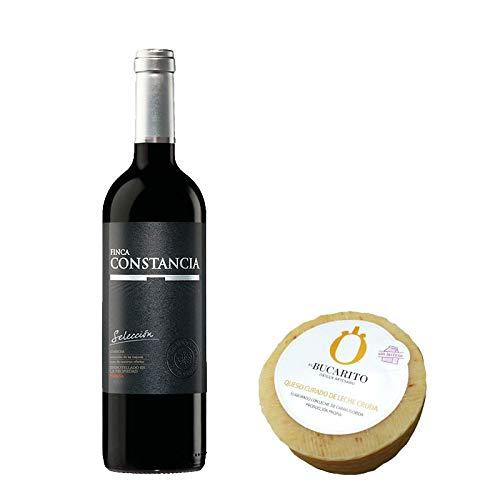 Pack de Vino tinto Finca Constancia Seleccion y Queso Curado de Leche Cruda Sin Lactosa - Vino de 75 cl y Queso de 900 g aprox - Mezclanza