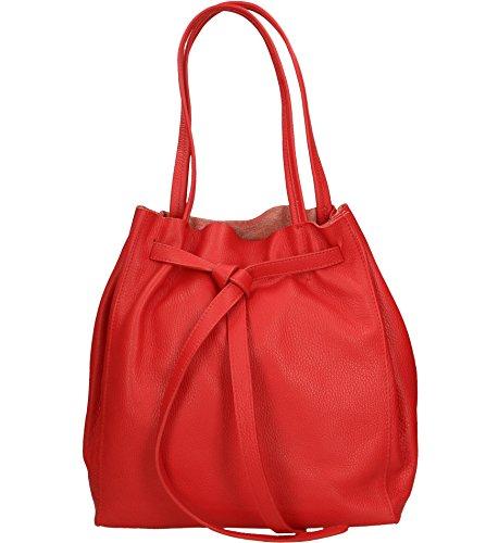 Freyday Damen Echtleder Shopper mit Innentasche in vielen Farben Schultertasche Henkeltasche (Rot)