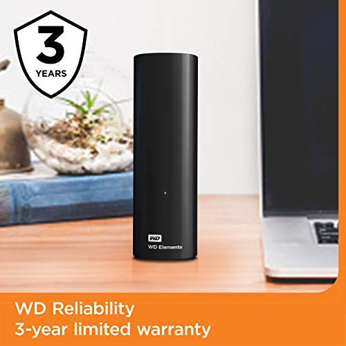 WD 6TB Elements Desktop Hard Drive HDD, USB 3.0, Compatible with PC, Mac, PS4 & Xbox - WDBWLG0060HBK-NESN