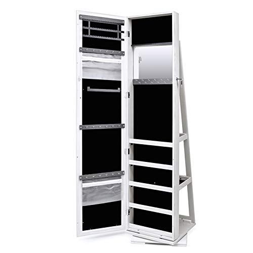 TWING Jewelry Organizer Jewelry Cabinet 360 Rotating , Lockable Standing Wall Jewelry Armoire with Full Length Mirror Large Jewelry Armoire Cabinet(White with wood grain)