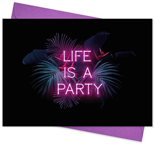 8er Set (inkl. Umschläge): Einladungskarten – Life is a Party – für den Geburtstag Teenager bzw. Kinder oder anderen Anlass – hochwertige Geburtstagseinladungen für Kinder, Mädchen, Teenager