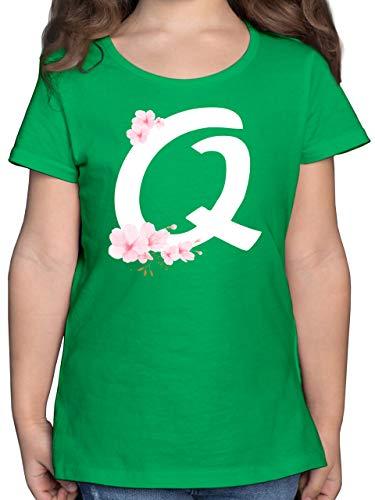 Anfangsbuchstaben Kind - Buchstabe Q mit Kirschblüten - 152 (12/13 Jahre) - Dunkelblau - t-Shirt q - F131K - Mädchen Kinder T-Shirt