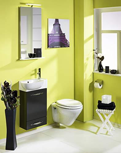 Gäste-Waschtisch, 45x70x18-27,5 cm, anthrazit glanz