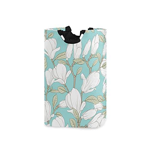 AJINGA Cesta de ropa para niños con asas, plegable, tela para ropa sucia, para mujer, flor botánica, magnolia