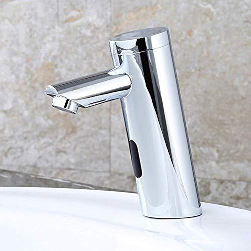 Allamp Sensor Inteligente Fría Individual Moderna Cromo Cobre baño Grifo del Lavabo del Hotel sin Contacto Oblicuo del Grifo de la práctica Hermosa Adecuado para Cocina y baño.