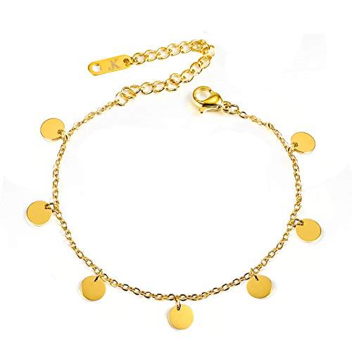 Kim Johanson Tobillera de acero inoxidable para mujer, diseño de monedas, color dorado, con 7 pequeñas placas, joya bohemia, ajustable, incluye bolsa de joyería