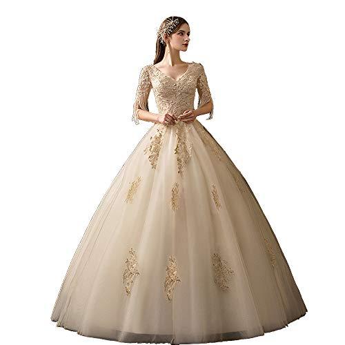 Generies Lace Wedding Dress for Women Party Bridal Dresses Appliques Straps Wedding Gown White