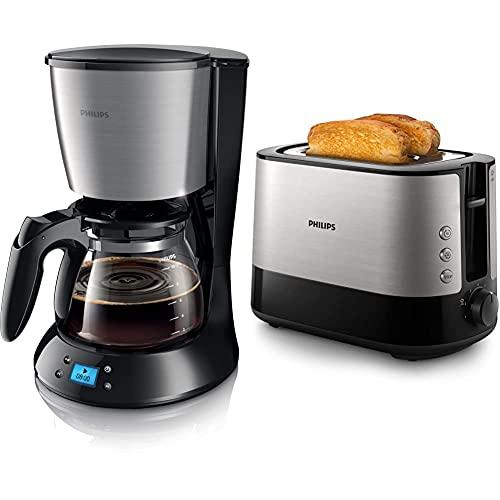Philips HD7459/20 New Daily Kaffeemaschine, 1,000 W, Glaskanne, schwarz & HD2637/90 Toaster, 7 Stufen, Brötchenaufsatz, Stopp-Taste, 1000 W, schwarz/edelstahl