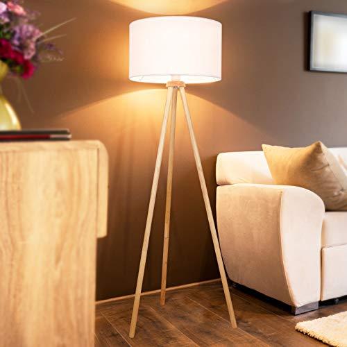 Tripod Stehlampe - EEK A++ bis E, LED, Höhe 145cm, Ø45cm, E27, Stativ aus Holz, Stoffschirm, Skandinavischen Stil - Dreibein Stehleuchte, Wohnzimmerlampe, Standleuchte für Wohnzimmer, Schlafzimmer