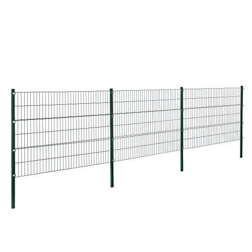 [pro.tec] Doppelstabmattenzaun - 6 x 1,2 m - Eisen Gartenzaun Metallzaun Set (grün)