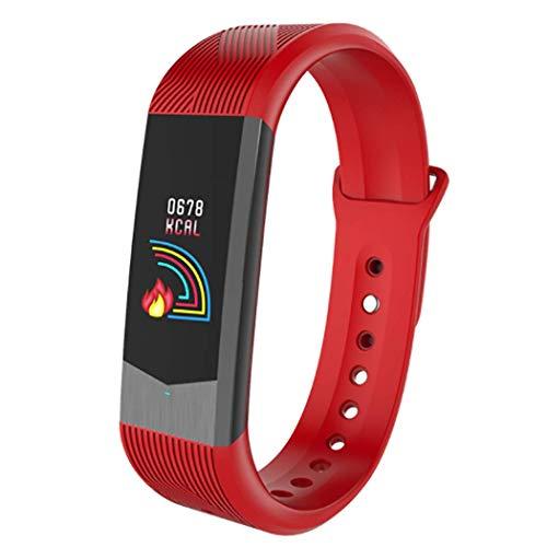 RHBKW Vrouwen Fitness Tracker met 24H Hartslagmeter 0.96 Kleur Scherm Waterdichte Smart Armband APP Herinnering Stap Counter USB Interface Smartwatch voor Sport, Rood