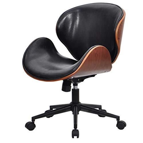 Slow Time Shop Adjustable Modern Accent Swivel Chair Mid Back Task Chair, Solid Wood Leather Office Office Chair Computer Desk Chair Retro With Armless