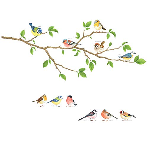 DECOWALL DS-8036 Oiseaux de jardin(Petit) Autocollants Muraux Mural Stickers Chambre Enfants Garderie Salon wall adhsif maison dcalcomanies