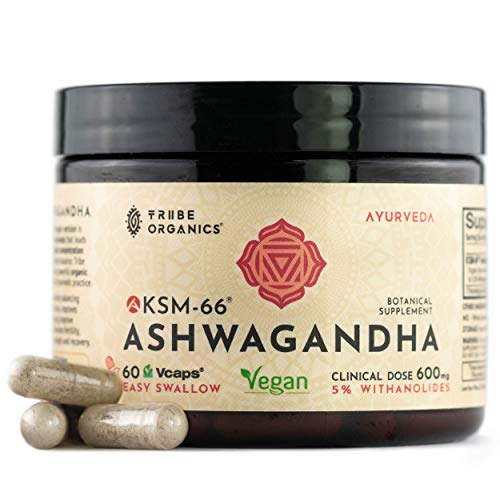 Vegan KSM-66 Ashwagandha Capsules - Pure Organic Root Extract, NO Additives - 5% Withanolides - 60 VCaps - Stress and Anxiety Relief Boost Immunity Adrenal Support Thyroid Support Cortisol Manager