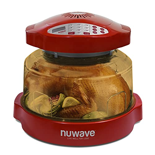 NuWave Pro Plus Oven (Red) with Power Dome and Extender Ring Kit with Infrared, Convection, and Conduction; 100F-350F; Fits up to 16 lb turkey; 12 in pizza; Air-fry, Broil, Bake, Roast, Toast; Dehydrate, Warm