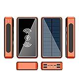 Cargador Solar Power Bank Solar Bateria Externa Movil Solar Inalambrica Powerbank Cargador Portatil con 5 Salidas(QI+4 USB) Y 4 Entradas(USB C,Micro,Lighting,Solar) Y Linterna LED,Orange,30000mAh
