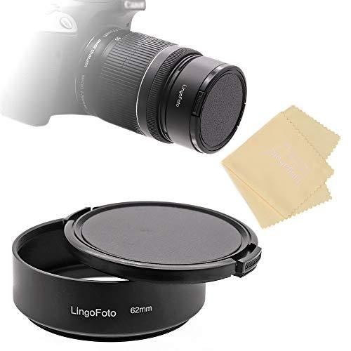 LingoFoto Campana estándar de metal de 62 mm + tapa de lente pellizcada lateral con paño de lente para cámara Canon Nikon Sony Pentax Olympus Fuji Sumsung Leica