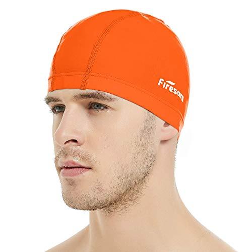 Firesara Lycra Gorra de Baño Gorra de natación Anti-Tear Cómodo Sin Deslizamiento para Los Hombres Mujer Largo Cabello Corto Adulto Muchachos Chicas-Naranja