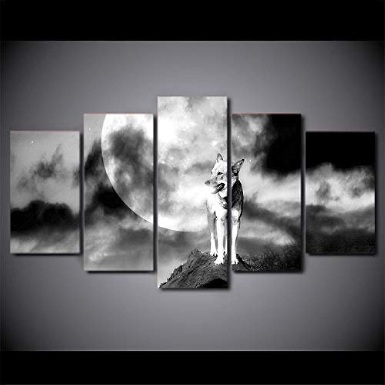 seguro de calidad OHHCO Cuadro sobre sobre sobre Lienzo Impresión En HD 5 Piezas De Arte En Lienzo blancoo Negro Lobo Luna Pintura Mural Foto para Sala De Estar Moderno  en linea