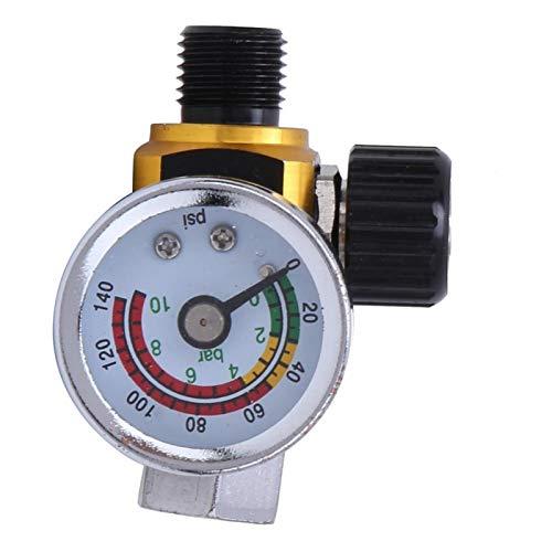 Controlador de presión de aire, regulador de presión de aire, aleación de aluminio para una conexión conveniente 0-10bar / 0-140psi Conector de salida de entrada 1 / 4in BSPP(Golden)