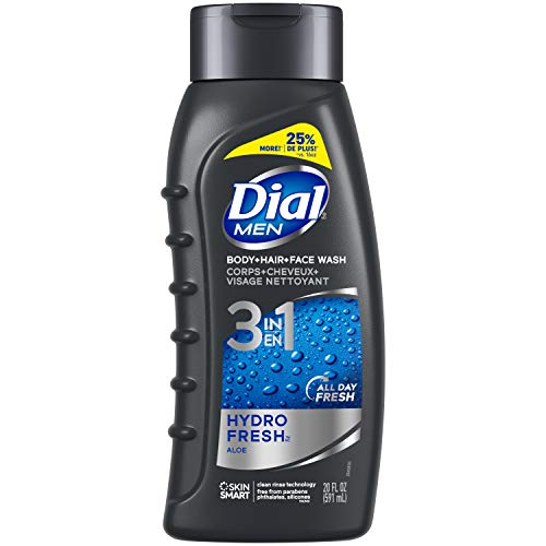 Dial Men 3in1 Body, Hair and Face Wash, Hydro Fresh, 20 fl oz (Pack of 4)